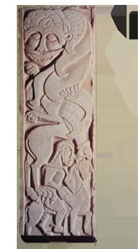 Dalle figurant saint Georges terrassant le dragon, marbre, trésor de la cathédrale dAversa (Italie).