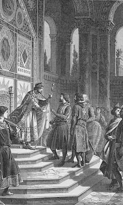 L`empereur Alexis Comnène croit que les Croisés sont venus l`aider à récupérer ses domaines conquis par les Turcs. Il exige donc un serment de fidélité de leur part avec la promesse de restituer à l`e