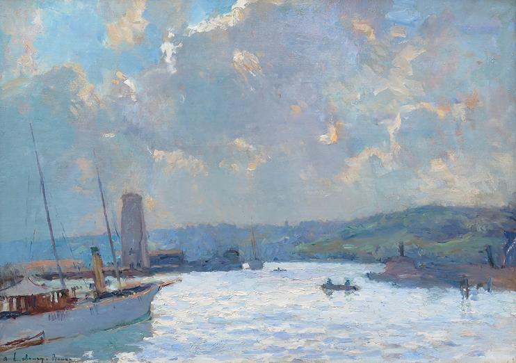 André Lebourg - Rouen, la Dame Blanche dans le port des yachts