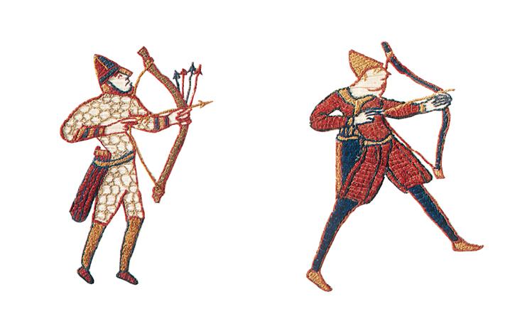 Archers (Tapisserie de Bayeux, XIe siècle. « Avec l'autorisation de la ville de Bayeux »).