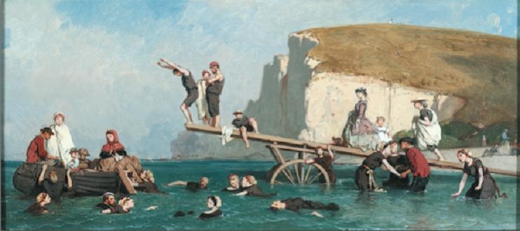 Bain de mer à Etretat, Eugène Le Poittevin, vers 1858, huile sur panneau. Exposé au musée Saint-Loup de Troyes. (Coll. Peindre en Normandie, cliché Philippe Fuzeau)