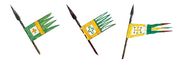 La bannière à croix représentée en plusieurs endroits de la Broderie  de Bayeux, respectivement scènes 46, 48 et 55. (E. Groult/Heimdal.)