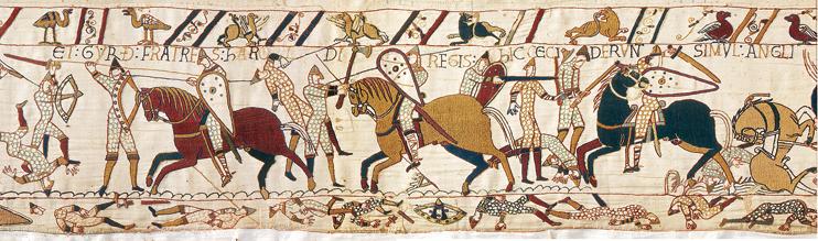 La bataille fait rage. Le premier choc est terrible, lances et écus sont au contact (Tapisserie de Bayeux, XIe siècle. « Avec l'autorisation de la ville de Bayeux »).
