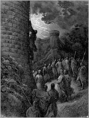 Bohémond et ses troupes escaladant les défenses d`Antioche, gravure réalisée par Gustave Doré