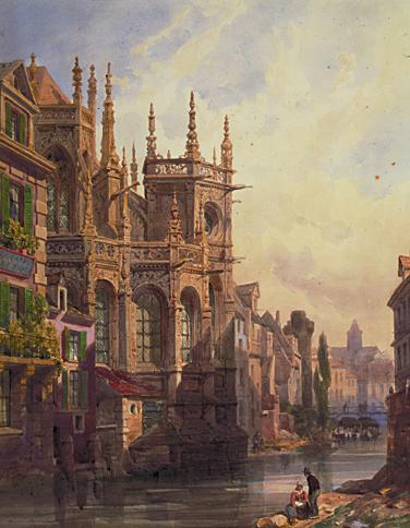 Thomas Shotter Boys, « Vue du chevet de l'église Saint-Pierre à Caen », 1865. On aperçoit tout contre l'église la tour Leroy. (Musée des Beaux Arts de Caen, Martine SEYVE, photographe.)