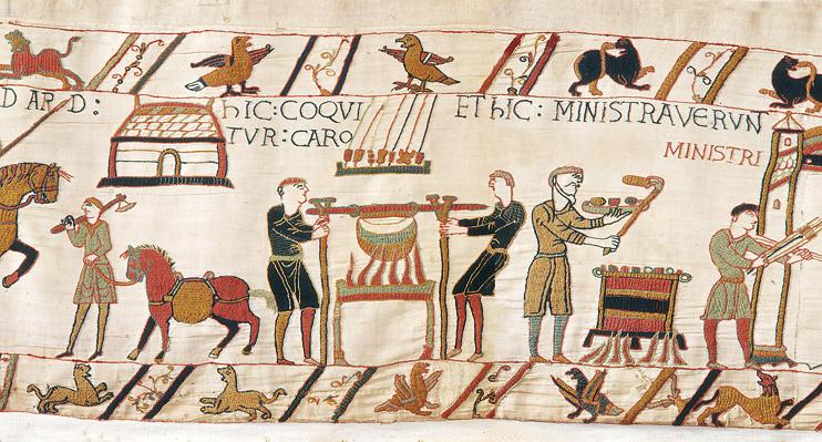 Un campement (Tapisserie de Bayeux, XIe siècle. « Avec l'autorisation de la ville de Bayeux »).