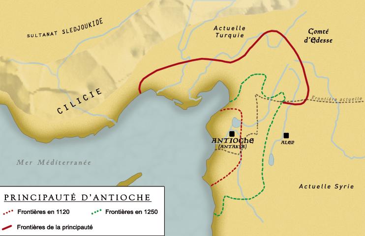 Carte de l'ancienne principauté d'Antioche et du comté d'Edesse. (PAO Rodolphe Corbin © Patrimoine Normand)