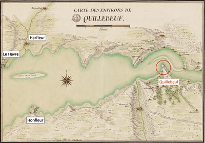 Alors qu'au niveau d'Honfleur l'estuaire fait cinq kilomètres de large, le chenal ne mesure même pas une centaine de mètres au niveau de Quillebeuf. Carte des environs de Quillebeuf. (© BnF-GESH18PF37DIV3P7D)