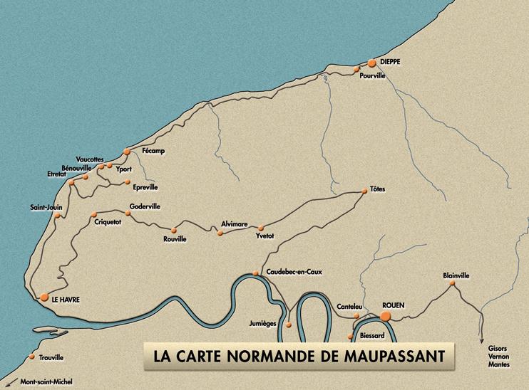 La carte normande de Maupassant. (© Patrimoine Normand.)