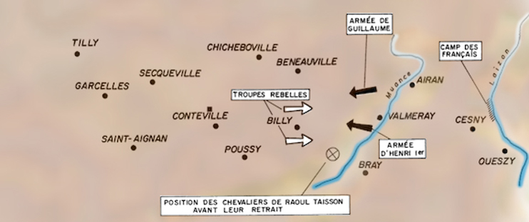 Situation probable des forces en présence avant l'affrontement du Val-ès-Dunes (© Patrimoine Normand)