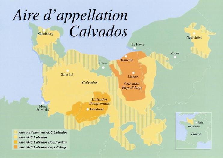 Les régions AOC du calvados. (© Grand Ordre du Trou Normand.)