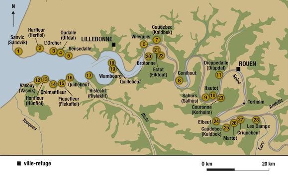 Les premiers établissements scandinaves dans la vallée de la Seine ; ils ont été recensés au nombre de vingt-huit par Jacques Le Maho (© Heimdal d'après Jacques Le Maho).