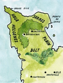 Dans le douaire de la duchesse Judith, datant de 1024, nous trouvons mention de districts aux noms scandinaves dans le Nord-Cotentin : Haga, Sarnes et Helgenes. Le premier se comprend aisément, il s'agit de la Hague. Le second signifie « Pointe de Saire », soit le nom scandinave du Val de Saire ; un cap est un élément de paysage plus évocateur pour ces marins. Il y a d'ailleurs sur Réville un lieu-dit appelé la Croix au Sarnais ! Enfin, le Helgenes (prononcer : Hélgueuness) signifiant le «cap de Helgi » ou le « Cap sacré » désignerait le Cap de Flamanville. Le nom de personne scandianve Helgi est d'ailleurs attesté dans le secteur par deux noms de lieux : Herqueville et Herquemoulin. Enfin, Fernand Lechanteur pensait que le nom du Bauptois était issu du scandinave belt ou belti désignant une ceinture ; cette région est effectivement une ceinture de terrain bordée par les marais coupant la base de la Presqu'île. Quant au Plain, c'est un nom d'origine romane et la forêt de Brix couvrait alors une partie de la presqu'île (Carte G. Bernage, Heimdal).