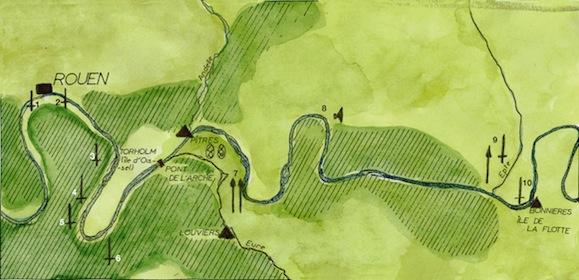 carte de la vallée de la Seine nous montre les principaux sites liés aux Viking