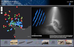 une carte interactive permettant de localiser la plupart des navires coulés au nord-ouest du Cotentin.