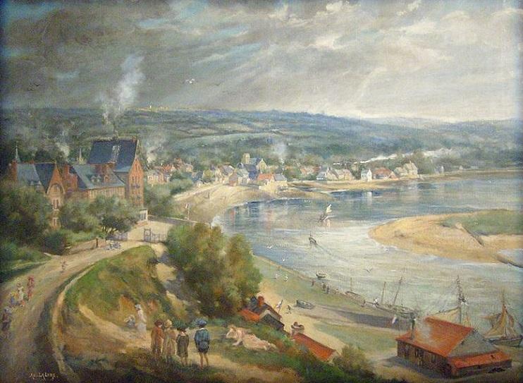 Carteret au début du XXe siècle, tableau A.D. La Lyre (Collection. communal).