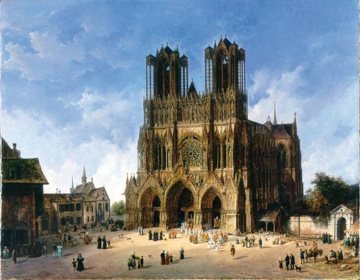 Domenico Quaglio, La cathédrale de Reims, 1833 Huile sur toile, Museum der Bildenden Künste, Leipzig, Allemagne ( bpk  Museum der bildenden Künste, Leipzig  Ursula Gerstenberger).