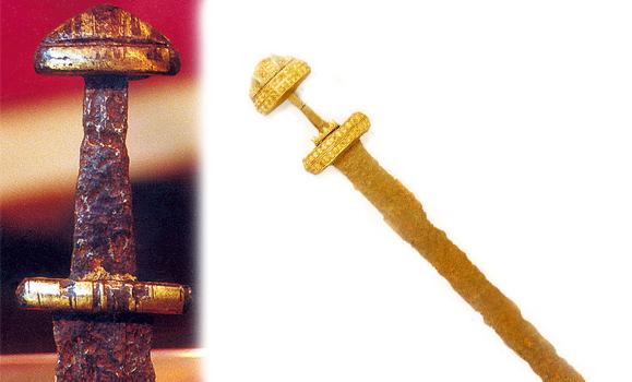 Cette épée retrouvée dans la Seine est conservée au Musée de Caudebec-en-Caux, dans la Maison dite des Templiers. Elle présente un décor à incrustations de fils d'or ; c'était l'épée d'un personnage important. Elle est semblable à une épée trouvée près de Kessel, dans la Meuse en Hollande. Elle est du type H de Petersen, datée du IXe siècle, de l'époque des raids vikings dans la vallée de la Seine (Photos G. Bernage).