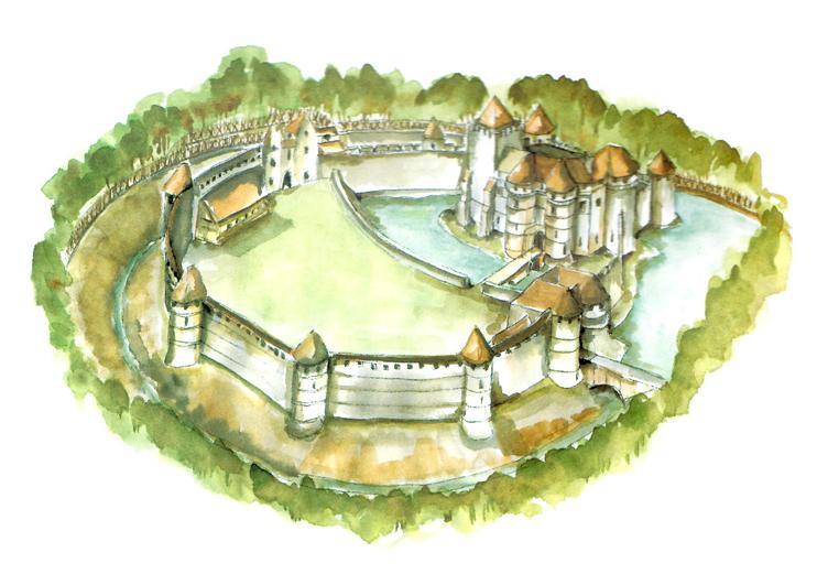 Reconstitution hypothétique du château d'Harcourt d'après J. Téaldi (Mise en couleur F. GAUTIER/ Patrimoine Normand).