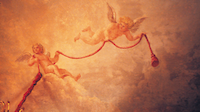 Ci-dessus et ci-contre : une partie de la décoration peinte  du plafond de la grande galerie.