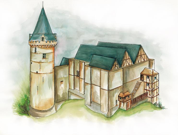 Ce qui aurait pu être fait. La vue du château de Falaise tirée des albums de Merian (ci-dessous) nous donne une idée des toitures encore en place dans le courant du XVIIe siècle, malgré des fantaisies dans la disposition. Une toiture aurait pu être mise en place sur la Tour Talbot ce qui aurait accentué sa forme élancée, restitué l'intention de son constructeur et évité le béton sur la terrasse. Pour souligner les « apports » contemporains, l'utilisation du bois et du pan de bois permettrait une distinction claire tout en restant très proche de l'esprit de ce temps. Ces grandes tours étaient couvertes de longues toitures successives, suivant le rythme des cloisons intérieures, avec un chéneau pour l'écoulement de l'eau. Quant à l'avant-corps : hourds, palissade et pan de bois étaient la solution…?si cet avant-corps est nécessaire. (Conception et réalisation : Patrimoine Normand - G. Bernage, B.Paich, F. Gautier.)