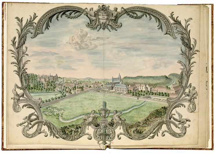 Planche d'un atlas aquarellé sur Valmont, après 1731 (Bibliothèque de l'Institut national d'Histoire de l'Art).