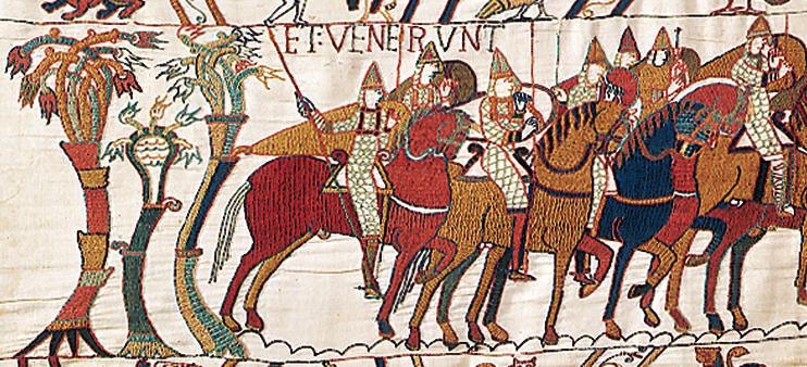 Cavaliers (Tapisserie de Bayeux, XIe siècle. « Avec l'autorisation de la ville de Bayeux »).