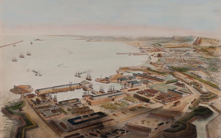 Cherbourg, vue prise au-dessus du port militaire ; Voyage aérien en France. Par?Guesdon Alfred. Estampe du XIXe siècle (© Musée Thomas Henry - Cherbourg).
