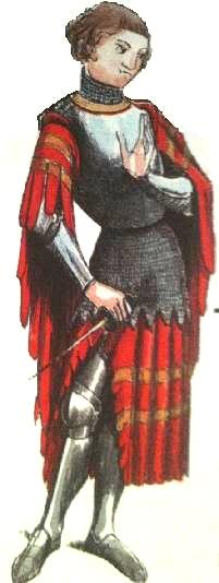 """Chevalier vers 1350. Sa cotte en """"queue d'écrevisse"""", a été mis aux armes des Harcourt. Tel pourrons-nous imaginer Geoffroy d'Harcourt (Dessin de Viollet-Le-Duc mis en couleurs par Francine Gautier)."""