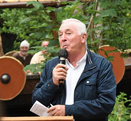 Christian Sébire, président fondateur du parc Ornavik, lors de linauguration du Langvin le 19 juin dernier. (Photo Rodolphe Corbin  Patrimoine Normand)