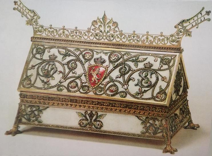 Coffret en marbre, argent doré, filigrané et émaillé. Torolf Prytz, pour la maison Jacob Tostrup à Christiana 1896-1897. Cadeau de la cour de Norvège au roi de Suède et la Norvège Oskar II. Un sommet