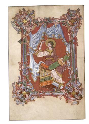 Évangéliaire de Préaux (Eure), réalisé dans le scriptorium de ce monastère normand dans le dernier quart du XIe siècle. (Additional 11850, f. 17v – © The British Library - Domaine public - www.bl.uk)