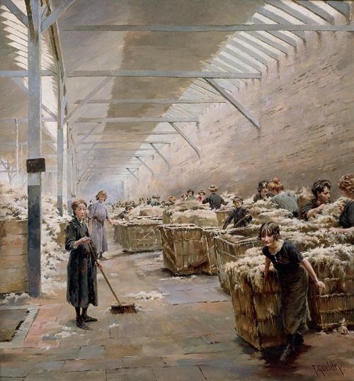 Ferdinand Joseph Gueldry, Scène de triage de la laine à Roubaix, vers 1910. ( Musée La Piscine (Roubaix), Dist. RMN-Grand Palais