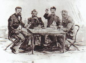 À la ferme St-Siméon, aquarelle de Boudin 1862.On y voit Jongkind, van Marke, Monet et Achard. (© Musée du Louvres, Paris.)