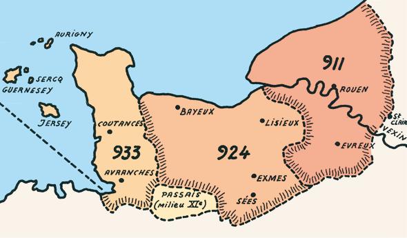Carte montrant la formation de la Normandie à partir du comté de Rouen.(Heimdal.)