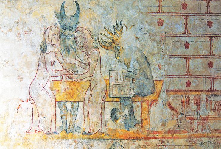 Église du Mesnil-Aubert - la fresque avec les démons et les deux femmes dite « des femmes paillarde ». (Photo Érik Groult © Patrimoine Normand.)