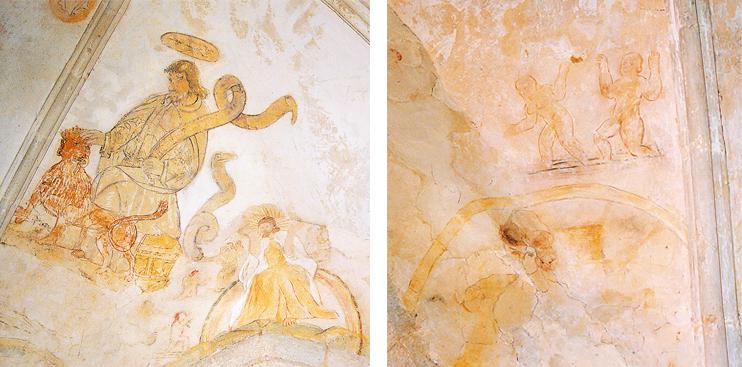 À gauche : Saint-Marc et le Christ ; à droite : restes de peintures montrant des scènes érotiques : la servante tente de séduire le fils. (Photo Erik Groult © Patrimoine Normand.)