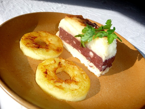 Gâteau de boudin, purée et pommes façon Tatin