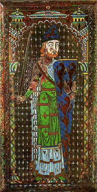 Plaque émaillée avec l'effigie funéraire de Geoffroy V le Bel,  présentant un premier exemple d'héraldique avec six à huit (?) lions d'or.?Son casque reprend les mêmes couleurs mais le lion est ici rampant et devient un léopard. Geoffroy Plantagenêt est décédé en 1151 et Michel Pastoureau date cette plaque des années 1160-1165. (Musée du Mans.)