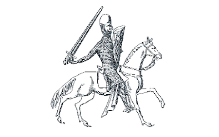 Dessin de G. Demay représentant Richard Ier Cœur de Lion d'après un sceau de 1195. Son écu présente deux lions affrontés.