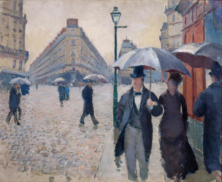Gustave Caillebotte Rue de Paris temps de pluie 1877, huile sur toile, 54 x 65 cm, Paris, musée Marmottan-Monet, legs Michel Monet, 1966. (© Christian Baraja / Bridgeman Images).