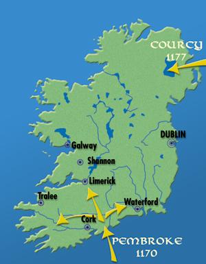 Carte des invasions normandes en Irlande. (© Patrimoine Normand).