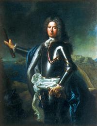 Jacques IV de Matignon (1689-1751) qui épousa Louise-Hippolyte Grimaldi Duchesse de Valentinois. Leur mariage en 1715 unit les deux familles. Il est habillé de la cuirasse traditionnelle, tient en main le bâton de commandement, et est placé devant le rocher de Monaco, ce qui situe la peinture entre 1731 et 1733. (Musée de Saint-Lô.)