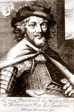 Portrait de Jean de Béthencourt figurant dans l'édition imprimée du « Canarien » en 1630.