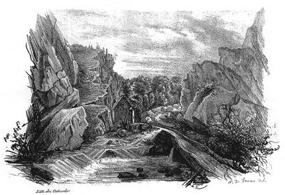 La Brèche au Diable, lithographie romantique, début XIXe siècle. (© Patrimoine Normand.)