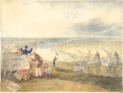 Londres vue depuis la colline de Greenwich. Dessin de Joseph Mallord William Turner en 1825. (Legs dAlexandrine Sinsheimer, 1958.  The Metropolitan Museum of Art - Domaine public  metmuseum.org)