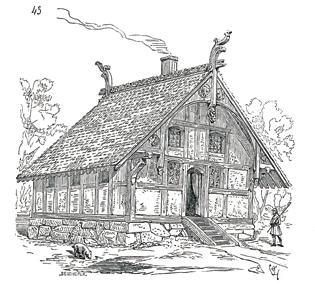 Il existait encore en Normandie (actuel département de l'Eure), vers 1830, des maisons de ce style. Toutes disparues, dessin de Viollet-le-Duc.