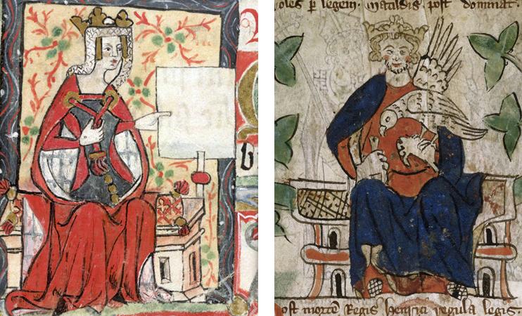 gauche : Mathilde l`Emperesse. (DR) ; droite : Le roi tienne sur son trône, faucon au poing. Distiques et poèmes. (Royal Ms 20 A II, fol. 7 Angleterre, vers 1307 et 1327 The British Library