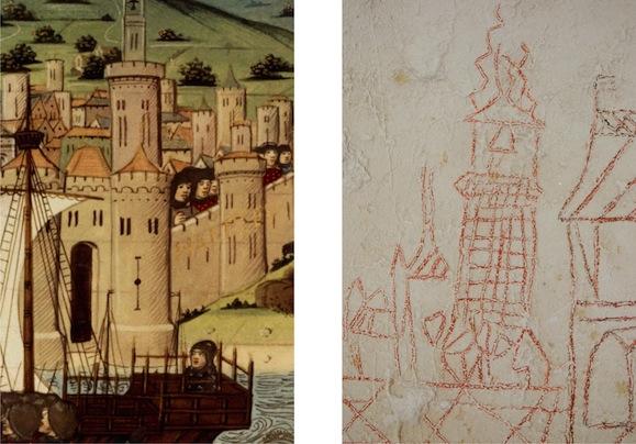 Grâce à la miniature des Vigiles de Charles VII et au graffito de l'église (DR), nous avons une idée relativement précise de l'architecture de la tour (© photo Bruno Duvernois).