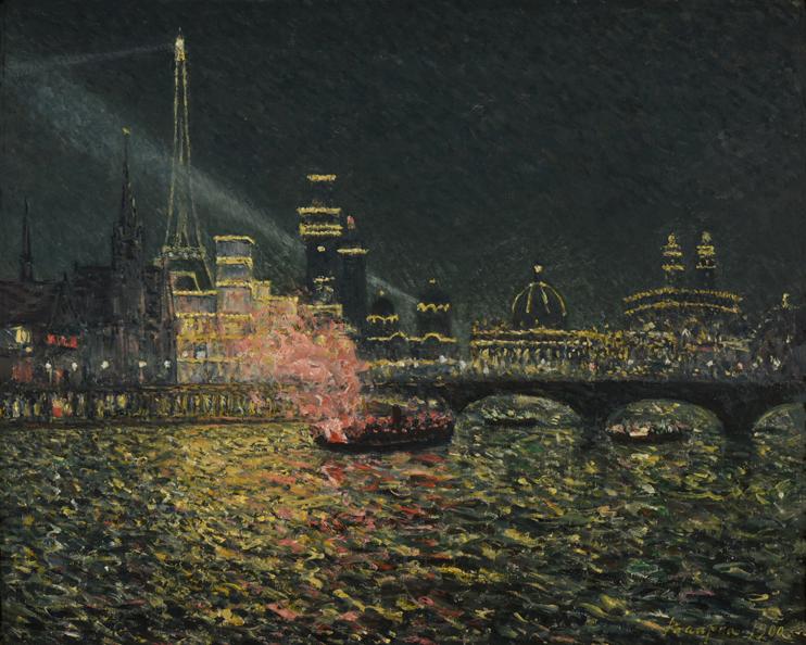 Maxime MAUFRA, Féérie nocturne - Exposition Universelle 1900, 1900, huile sur toile, 65,9 x 80,8 cm, Reims, Musée des Beaux-Arts, legs Henry Vasnier.  C. Devleeschauwer.